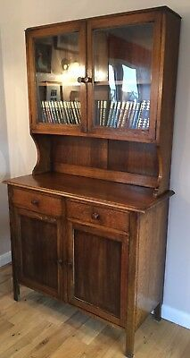 Antique Dark Oak Dresser with Glass-Fronted  Cabinet - Early 20th Century