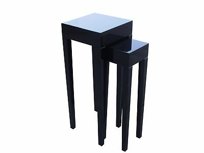 Side Table Set Black Piano Lacquer High Gloss lacktisch Telephone Console
