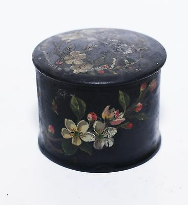 Antique Chinese Oriental Lacquered Paper Mache Dressing Table Trinket Box Floral