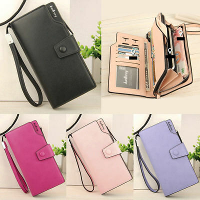 Womens Lady Clutch Leather Wallet Long Card Holder Phone Bag Case Purse Handbag