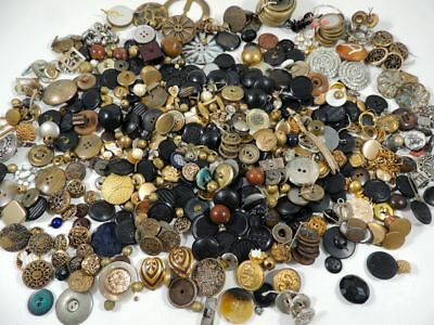 Lg Mix Lot ANTIQUE VTG BUTTONS-Metal Picture Rhinestone Steel Horn Rubber & MORE