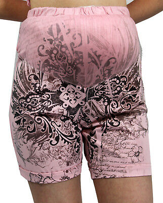 Pink Sublimation Maternity Shorts Confy Stylish Womens Bottoms Belly Elastic Ban
