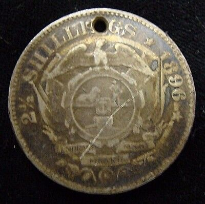 Sterling Silver 1896 South Africa 2-1/2 Shillings KM# 7