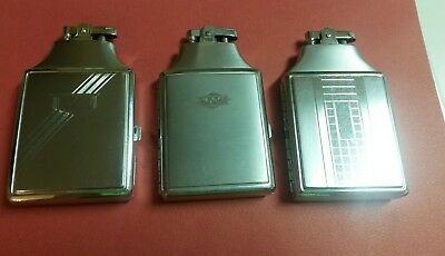 Lot of Three Vintage Ronson Mastercase Lighter and Case Combo