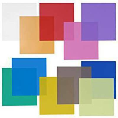 """Neewer 12x12"""" Transparent Color Gel Filter Set Pack of 11 Sheets for Photo"""