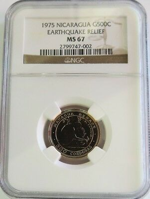 1975 Gold Nicaragua 500 Cordobas Ngc Mint State 67 Earthquake Relief 1750 Minted