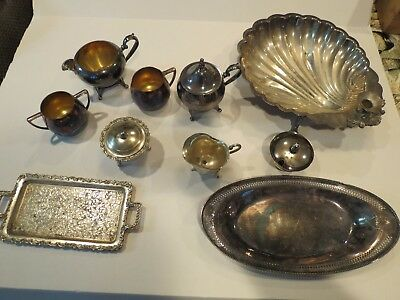 Vintage Silver Plate Mixed Lot of 10 Creamer, Bowl, Tray - Empire, Oneida