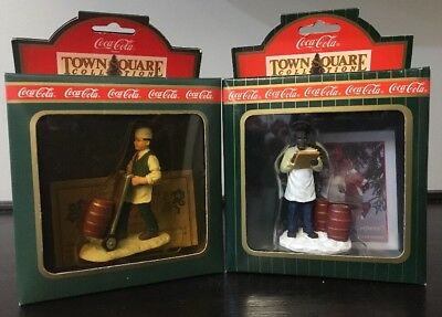 Lot Of 2 Vintage Holiday Village  Coca-Cola Town Square-The Soda Jerk/Shopkeeper