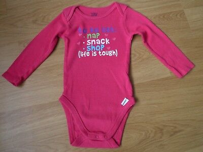 Baby girls long sleeved vest / body suit pink 9-12 months 'to do list nap snack