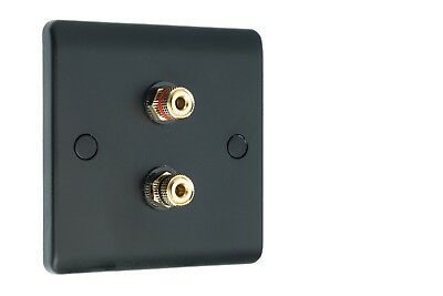 2 post Audio Speaker Wall Face Plate Matt Black 2 Gold Binding Posts Non-Solder