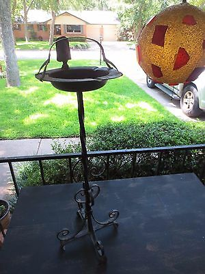 Antique Vintage Wrought Iron Metal Stanidng Ashtray Spanish Colonial Gothic