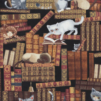 Old Antique Books with Cats Library Reading Quilting Fabric FQ or Metre *New*