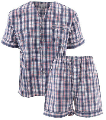 Comfort Zone Navy and Red Plaid Short Pajamas for Men Cotton Blend