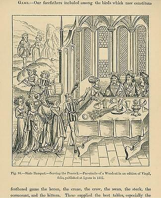 Antique Medieval Middle Ages Banquet Food Dinner Table Serving Peacock Art Print
