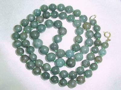 """Old Chinese Stunning 32"""" Green silk knotted Nephrite Jade Beads Necklace   #1627"""