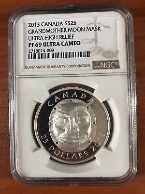 2013 $25 Canada Grandmother Moon Mask Ultra High Relief PF69 Ultra Cameo