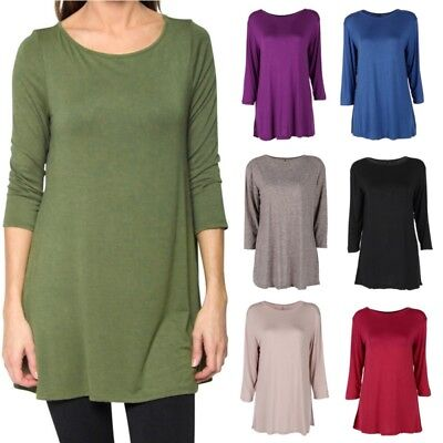 US Womens Solid Basic Plus Size Long Sleeve Long Blouse T-shirt Top Tunic Dress