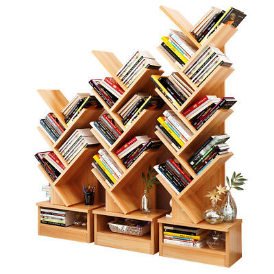 Bookcase Shelf Stand Display Cases Bookshelf Shelving Wood Shelves Tree Shape