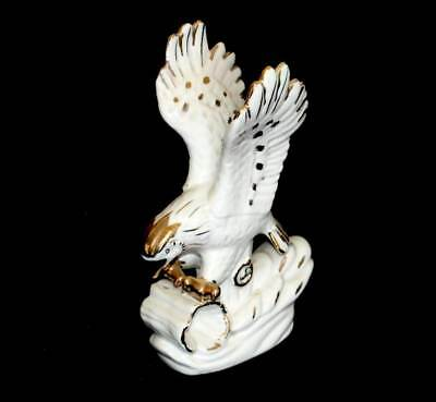 Vintage Chinese white & gilded flying eagle statuette figurine 20cm