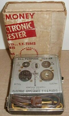 Vtg. MORGAN-POWELL Co. ALL-PURPOSE RADIO T.V. TUBE TESTER~NEVER USED Boxed