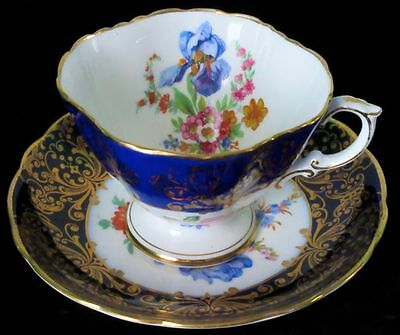Hammersley & Co Antique Scarce Cobalt Blue Rich Gold with Irises Bone China Cup