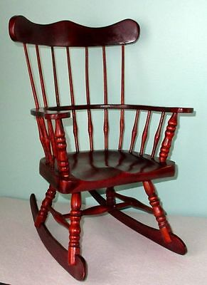 Antique Victorian Hand Carved Salesman SAMPLE Mahogany Windsor Rocking Chair