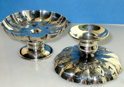 Antique Art Nouveau Pair of Silver Over Copper Dishes/Candle Holders