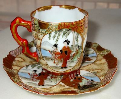 Antique Japanese Kutani Eggshell Hand Painted Cup & Saucer Meiji Period