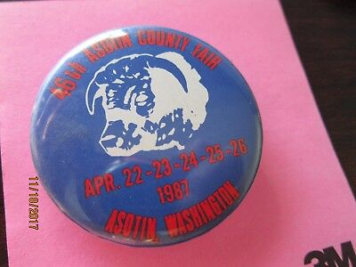 Vintage Button Pin 46nd ASOTIN COUNTY FAIR  Washington 1987 Bull Cow 1 3/4""