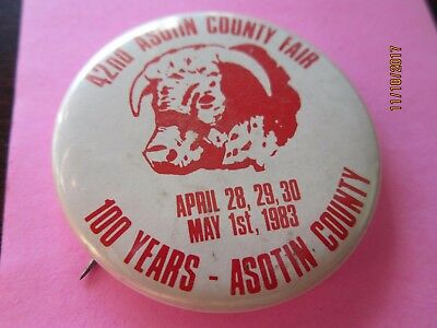Vintage Button Pin 42nd ASOTIN COUNTY FAIR 100yr Washington 1983 Bull Cow 1 3/4""