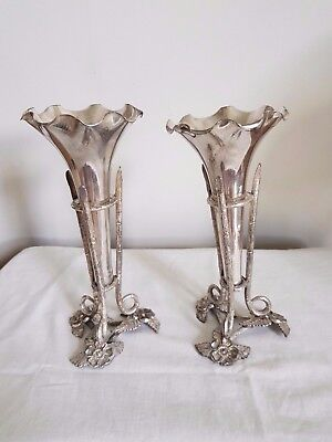 Pair of silver plate trumpet candle stick holders maker Alexander saunders 1897c