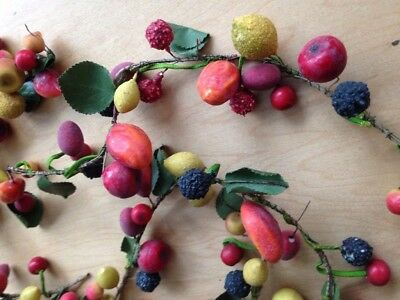 Miniature Millinery Hat Paper Mache Wired Fruit Spray Garland Xmas Decorations