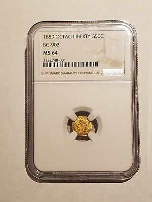 1859 Califonia Octagon Liberty Gold 50c NGC MS64 BG902 R6