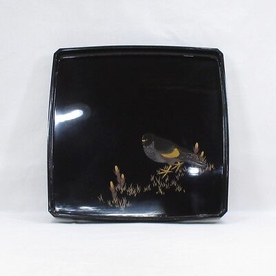 D724: Real old Japanese lacquer ware square tray with good sparrow MAKIE
