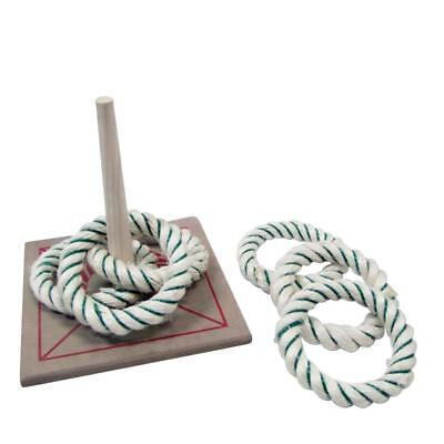 New Quoits Set Regent Official 6 Rope Ring Toss Wooden Base Kids Toys Sports