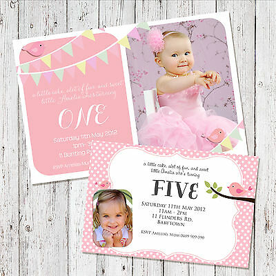 Personalised 1st BIRTHDAY Girl Photo Party Invitations invites + Magnets