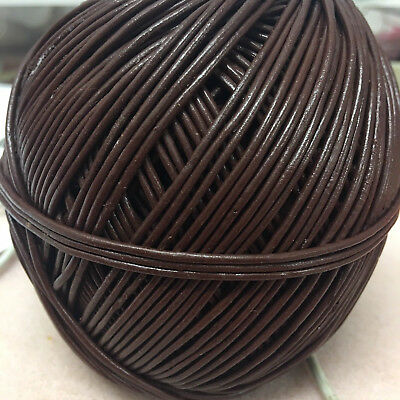 10m x 2mm Brown Round LEATHER CORD - belt/cord/jewellery/bag/hat/necklace/craft