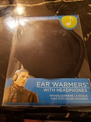 NIB Degrees by 180s Mens Black Fleece With Built In Headphones Ear Warmers NEW!