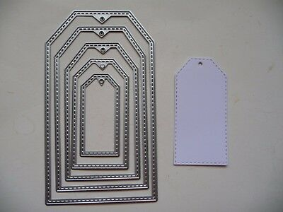 Thin Metal Cutting Die Nesting Nested Stitched Tag Labels Tags Label Dies Sizzix