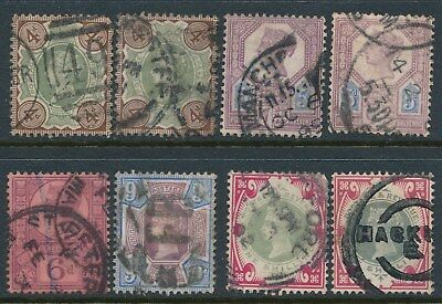 1887 GB Jubilee used selection x 8 stamps