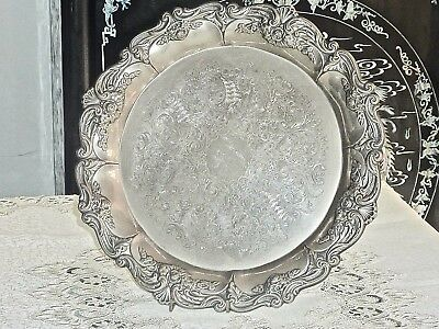 Stunning Vintage Art Nouveau Style Silver Plated Round  Serving Tray
