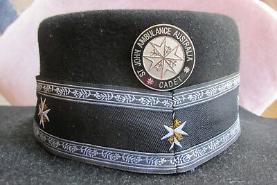 ST JOHN's  AMBULANCE  (Volunteer) HAT with hat band and hat badge