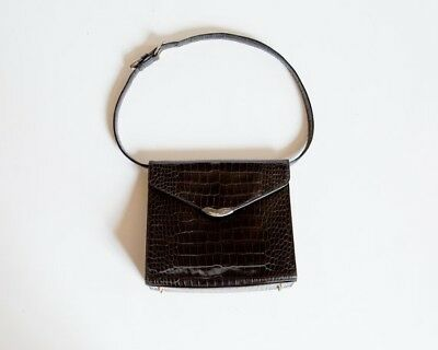 Vintage Ralph Lauren Crocodile Embossed Leather Kelly Bag With Sterling  Silver 77c97badcc653