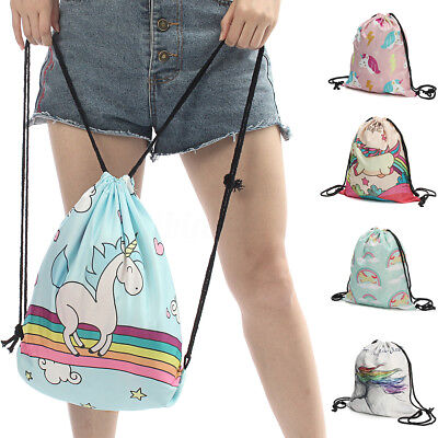 Women Girls Unicorn Backpack 3d Printing Travel Softback Drawstring School Bag