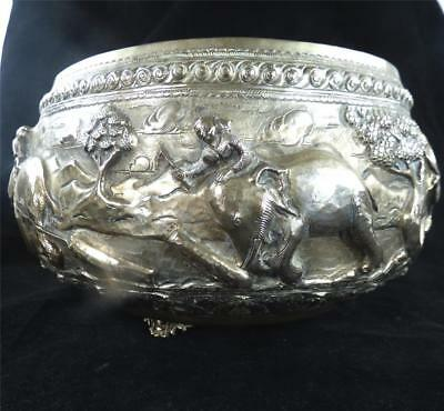 Antique Burmese White Metal Silver High Relief Chased Repousse Bowl Elephants