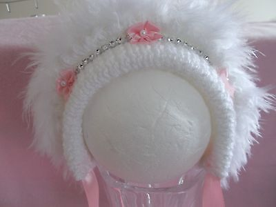 Hand Knitted Traditional Baby Girls Sparkle Bonnet/Hat N/B-24 Months