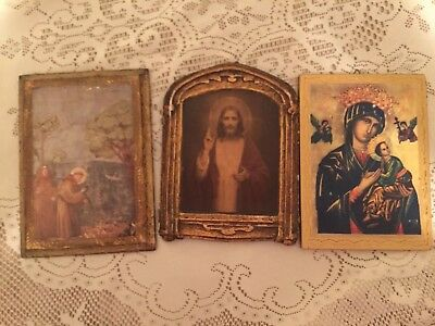 Italian Florentine Religious Catholic Wall Plaques Jesus St. Francis Vintage old