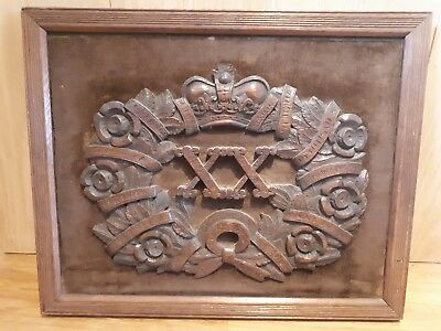Fantastic Scarce 19thc Victorian Large Carved Wooden Lancashire Fusiliers Plaque
