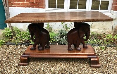 Large Colonial African Antique Victorian Table from Ghana with Ashanti Elephants