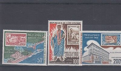 a122 - IVORY COAST - SG315-317 MNH 1969 PHILEXAFRIQUE STAMP EXN - 2nd ISSUE